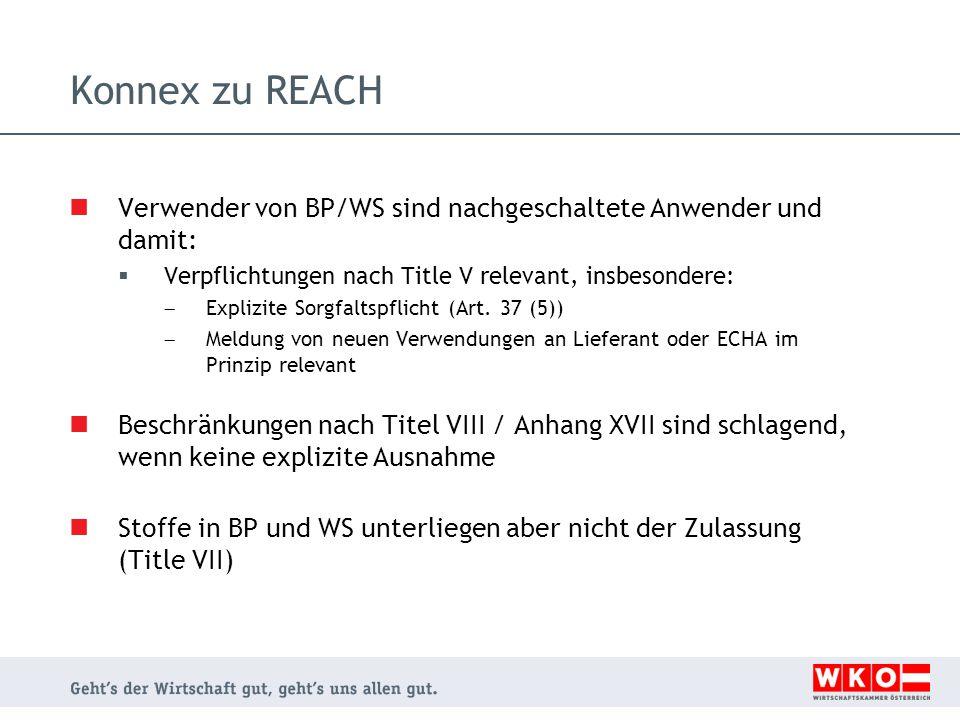 Konnex zu REACH Verwender von BP/WS sind nachgeschaltete Anwender und damit:  Verpflichtungen nach Title V relevant, insbesondere:  Explizite Sorgfa