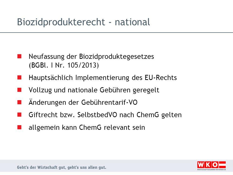 Biozidprodukterecht - national Neufassung der Biozidproduktegesetzes (BGBl. I Nr. 105/2013) Hauptsächlich Implementierung des EU-Rechts Vollzug und na