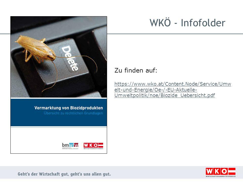 WKÖ - Infofolder Zu finden auf: https://www.wko.at/Content.Node/Service/Umw elt-und-Energie/Oe-/-EU-Aktuelle- Umweltpolitik/noe/Biozide_Uebersicht.pdf