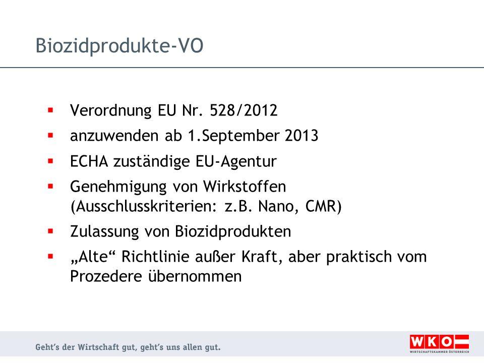  Verordnung EU Nr. 528/2012  anzuwenden ab 1.September 2013  ECHA zuständige EU-Agentur  Genehmigung von Wirkstoffen (Ausschlusskriterien: z.B. Na