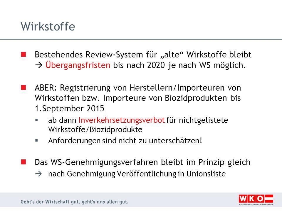 """Wirkstoffe Bestehendes Review-System für """"alte"""" Wirkstoffe bleibt  Übergangsfristen bis nach 2020 je nach WS möglich. ABER: Registrierung von Herstel"""