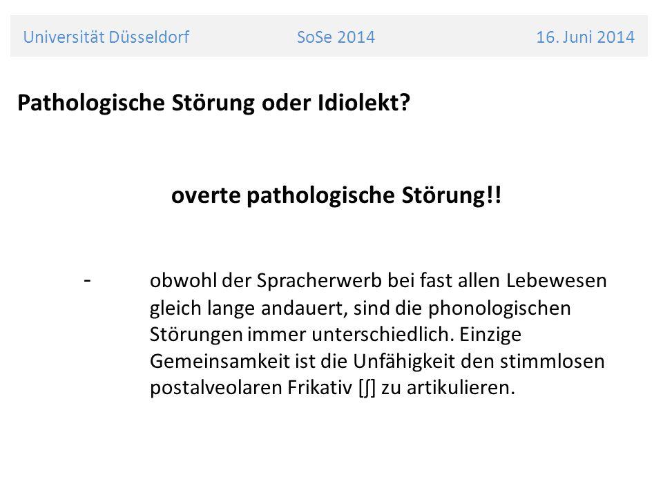 Universität Düsseldorf SoSe 2014 16.Juni 2014 Pathologische Störung oder Idiolekt.