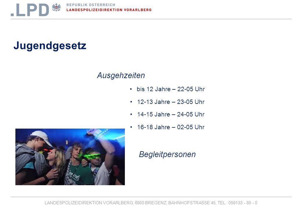 LANDESPOLIZEIDIREKTION VORARLBERG, 6900 BREGENZ, BAHNHOFSTRASSE 45, TEL.: 059133 - 80 - 0 Jugendgesetz Alkohol -Unter 16 Jahren verboten -16-18 Jahre – keine gebrannten Getränke -16-18 Jahre – keine Mischgetränke (zB.