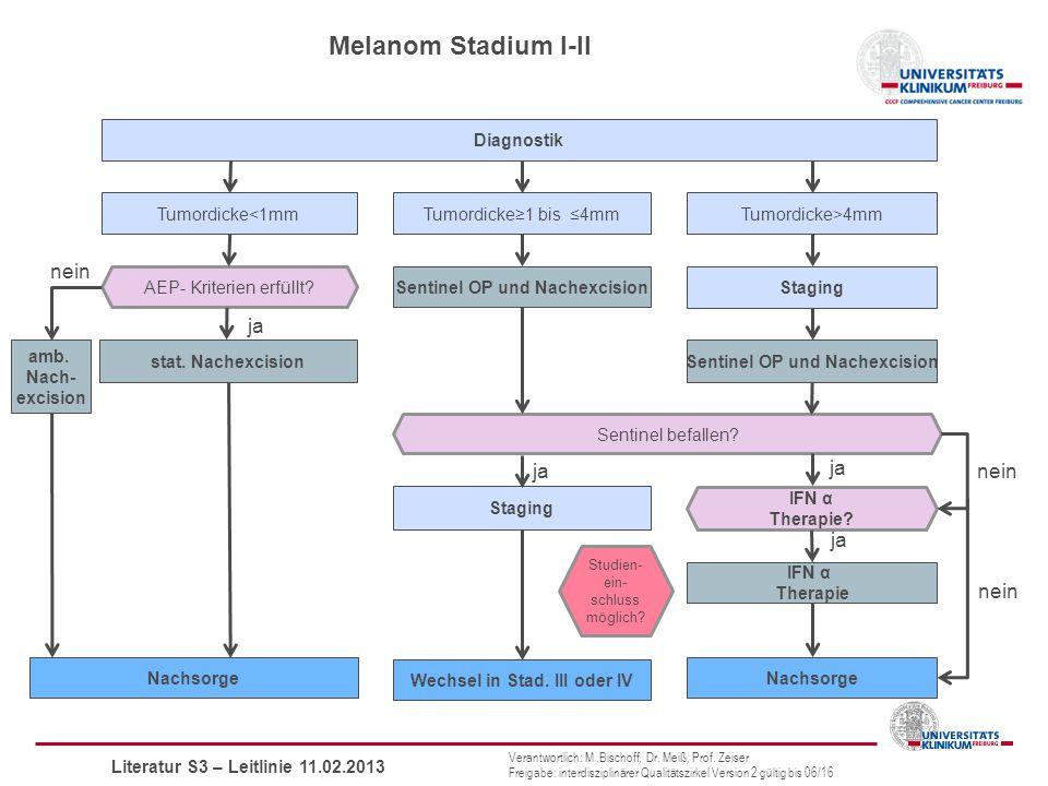 Melanom Stadium I-II Diagnostik nein ja stat.Nachexcision AEP- Kriterien erfüllt.