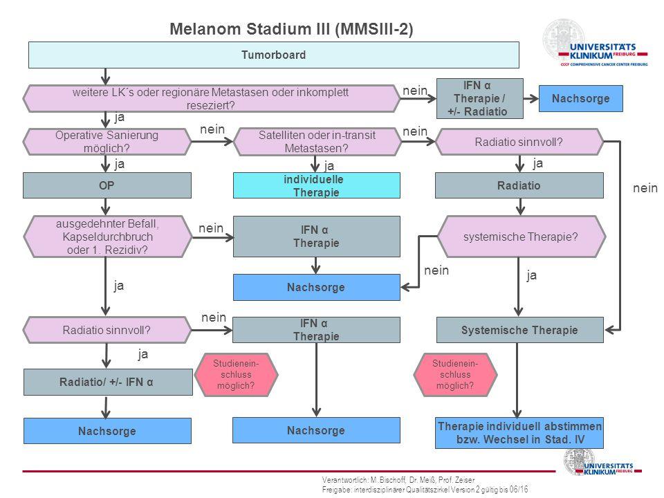 Melanom Stadium III (MMSIII-2) weitere LK´s oder regionäre Metastasen oder inkomplett reseziert.