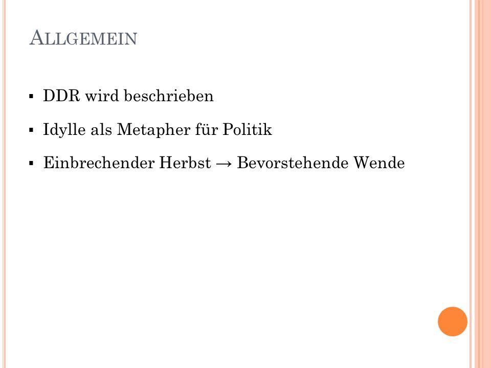 A LLGEMEIN  DDR wird beschrieben  Idylle als Metapher für Politik  Einbrechender Herbst → Bevorstehende Wende