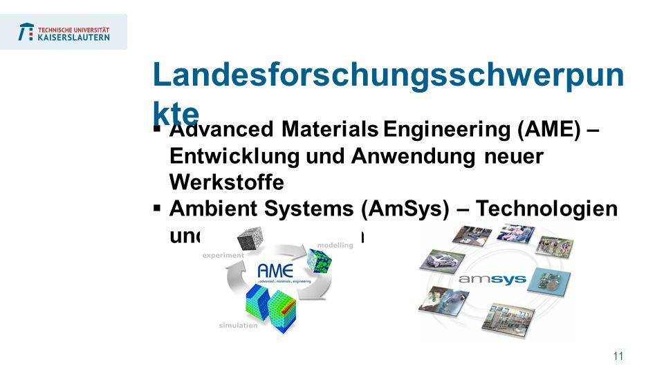 11  Advanced Materials Engineering (AME) – Entwicklung und Anwendung neuer Werkstoffe  Ambient Systems (AmSys) – Technologien und Anwendungen Landesforschungsschwerpun kte