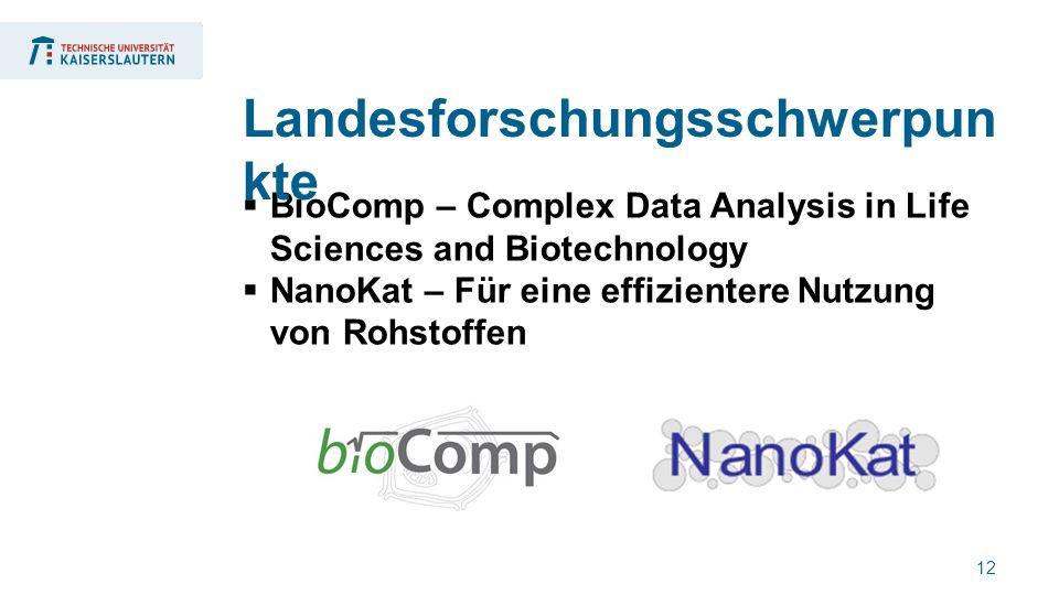 12  BioComp – Complex Data Analysis in Life Sciences and Biotechnology  NanoKat – Für eine effizientere Nutzung von Rohstoffen Landesforschungsschwerpun kte