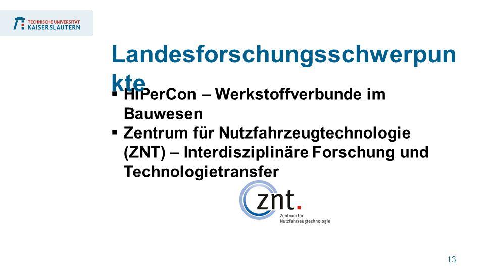 13  HiPerCon – Werkstoffverbunde im Bauwesen  Zentrum für Nutzfahrzeugtechnologie (ZNT) – Interdisziplinäre Forschung und Technologietransfer Landesforschungsschwerpun kte