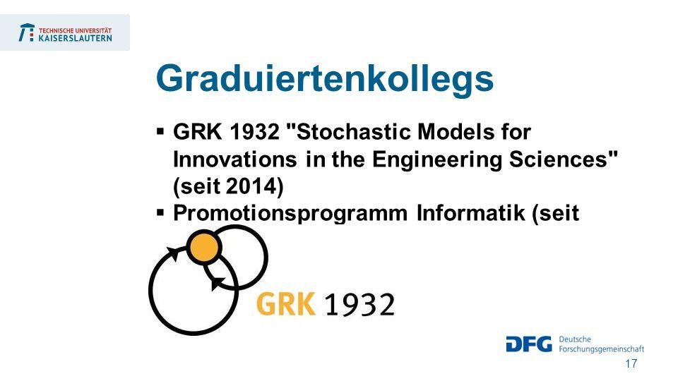 17  GRK 1932 Stochastic Models for Innovations in the Engineering Sciences (seit 2014)  Promotionsprogramm Informatik (seit 2003) Graduiertenkollegs