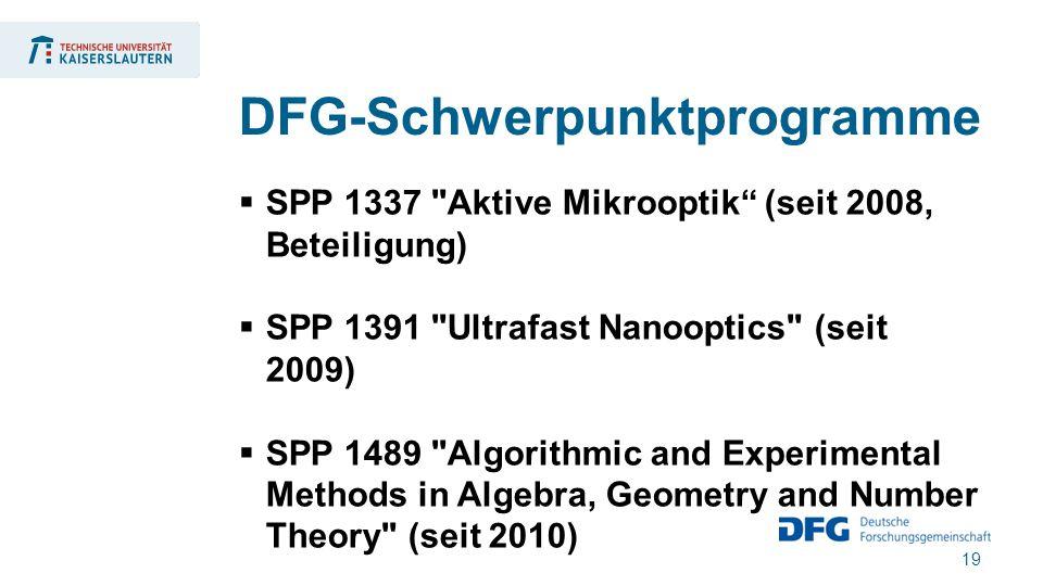 19  SPP 1337 Aktive Mikrooptik (seit 2008, Beteiligung)  SPP 1391 Ultrafast Nanooptics (seit 2009)  SPP 1489 Algorithmic and Experimental Methods in Algebra, Geometry and Number Theory (seit 2010) DFG-Schwerpunktprogramme