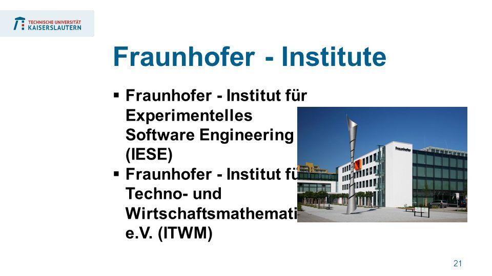21  Fraunhofer - Institut für Experimentelles Software Engineering (IESE)  Fraunhofer - Institut für Techno- und Wirtschaftsmathematik e.V.