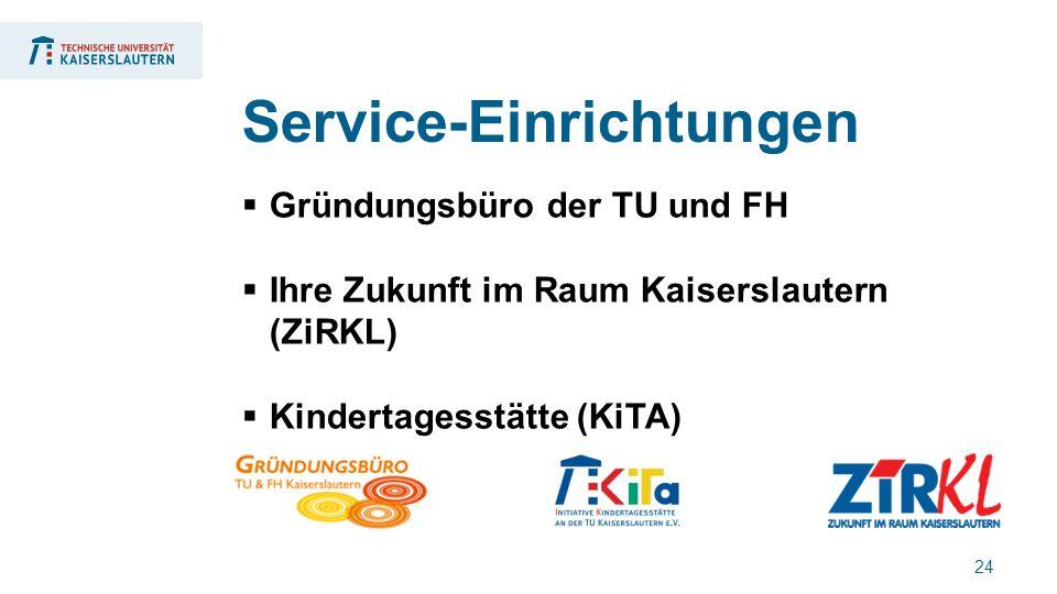 24  Gründungsbüro der TU und FH  Ihre Zukunft im Raum Kaiserslautern (ZiRKL)  Kindertagesstätte (KiTA) Service-Einrichtungen