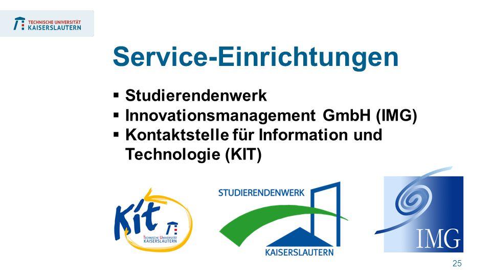 25  Studierendenwerk  Innovationsmanagement GmbH (IMG)  Kontaktstelle für Information und Technologie (KIT) Service-Einrichtungen