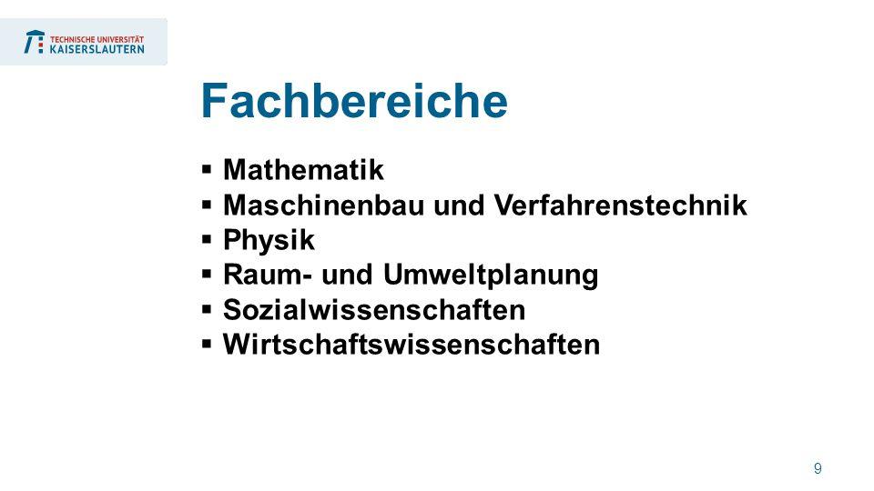 9  Mathematik  Maschinenbau und Verfahrenstechnik  Physik  Raum- und Umweltplanung  Sozialwissenschaften  Wirtschaftswissenschaften Fachbereiche