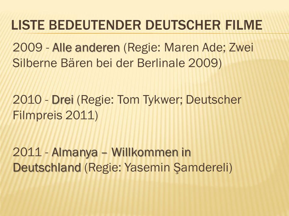 LISTE BEDEUTENDER DEUTSCHER FILME Alle anderen 2009 - Alle anderen (Regie: Maren Ade; Zwei Silberne Bären bei der Berlinale 2009) Drei 2010 - Drei (Re