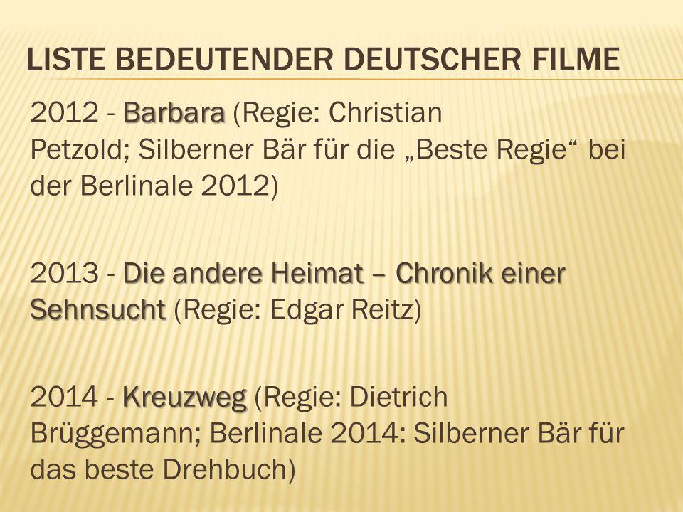 """LISTE BEDEUTENDER DEUTSCHER FILME Barbara 2012 - Barbara (Regie: Christian Petzold; Silberner Bär für die """"Beste Regie"""" bei der Berlinale 2012) Die an"""