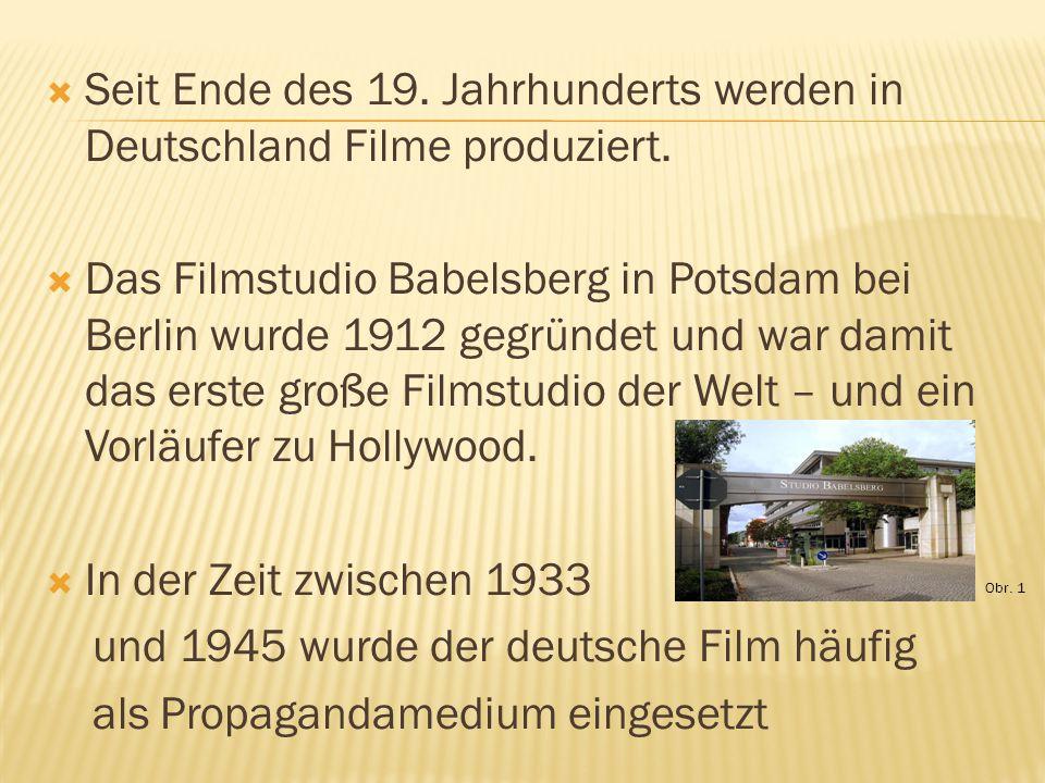  Seit Ende des 19. Jahrhunderts werden in Deutschland Filme produziert.  Das Filmstudio Babelsberg in Potsdam bei Berlin wurde 1912 gegründet und wa