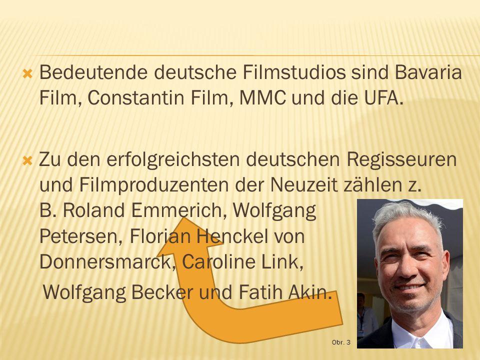  Bedeutende deutsche Filmstudios sind Bavaria Film, Constantin Film, MMC und die UFA.  Zu den erfolgreichsten deutschen Regisseuren und Filmproduzen