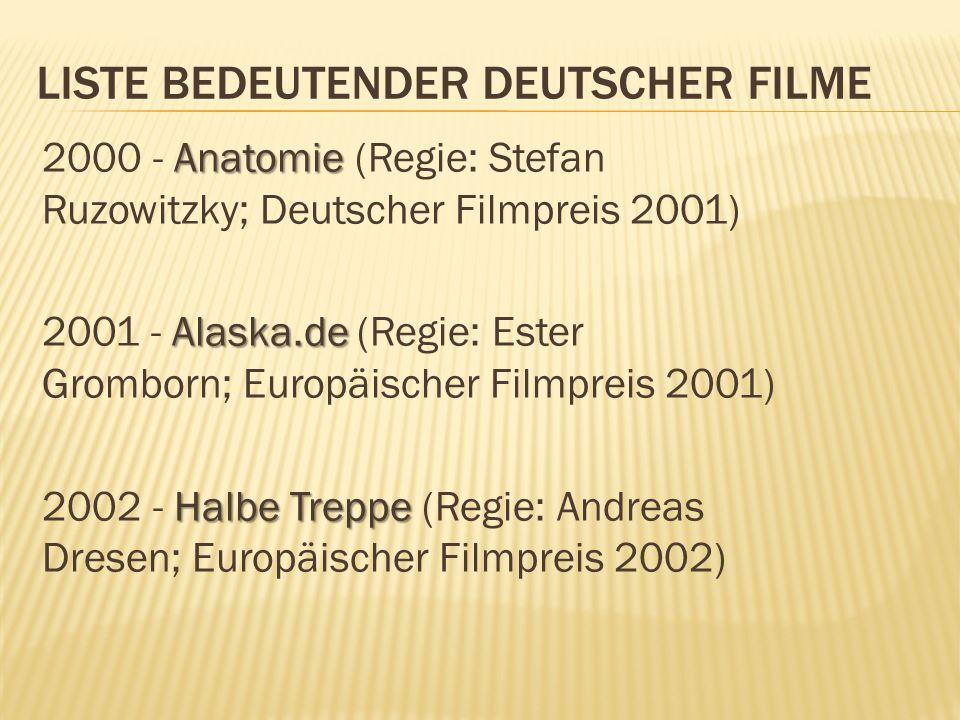 LISTE BEDEUTENDER DEUTSCHER FILME Anatomie 2000 - Anatomie (Regie: Stefan Ruzowitzky; Deutscher Filmpreis 2001) Alaska.de 2001 - Alaska.de (Regie: Ester Gromborn; Europäischer Filmpreis 2001) Halbe Treppe 2002 - Halbe Treppe (Regie: Andreas Dresen; Europäischer Filmpreis 2002)