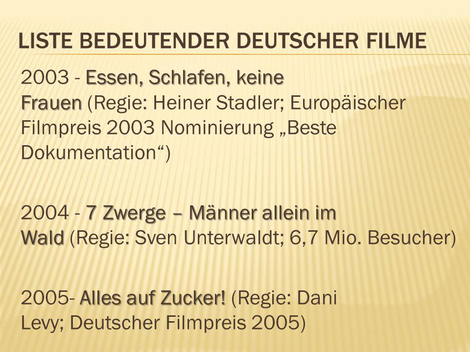 LISTE BEDEUTENDER DEUTSCHER FILME Essen, Schlafen, keine Frauen 2003 - Essen, Schlafen, keine Frauen (Regie: Heiner Stadler; Europäischer Filmpreis 20