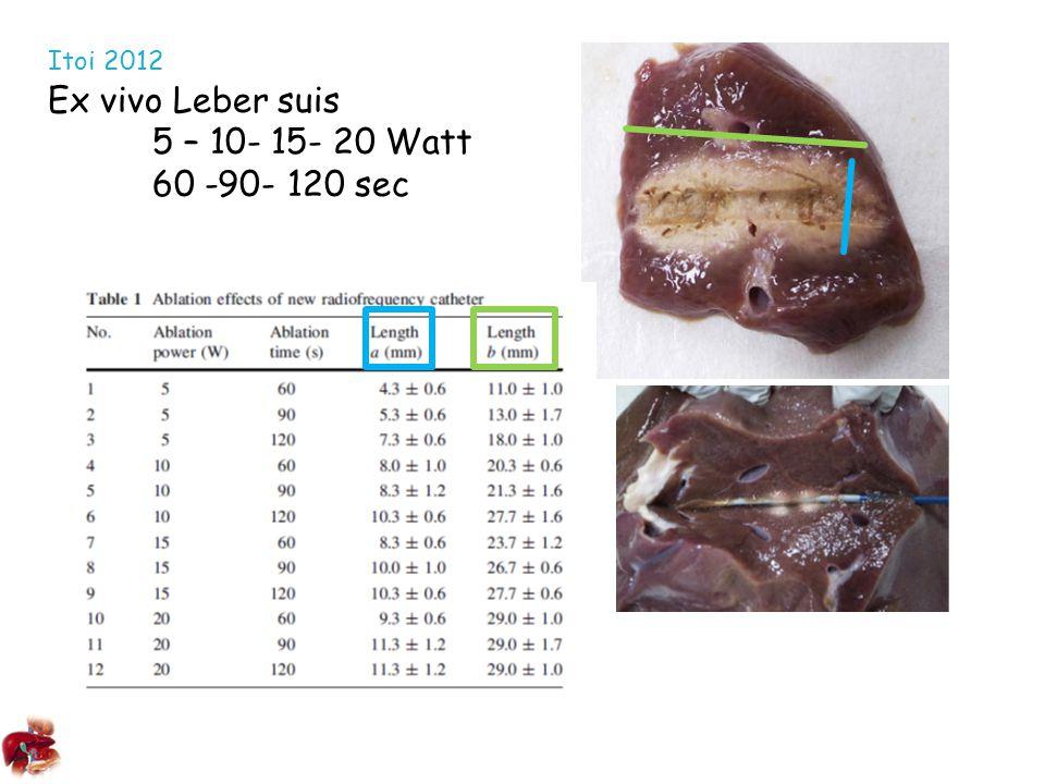 Itoi 2012 Ex vivo Leber suis 5 – 10- 15- 20 Watt 60 -90- 120 sec