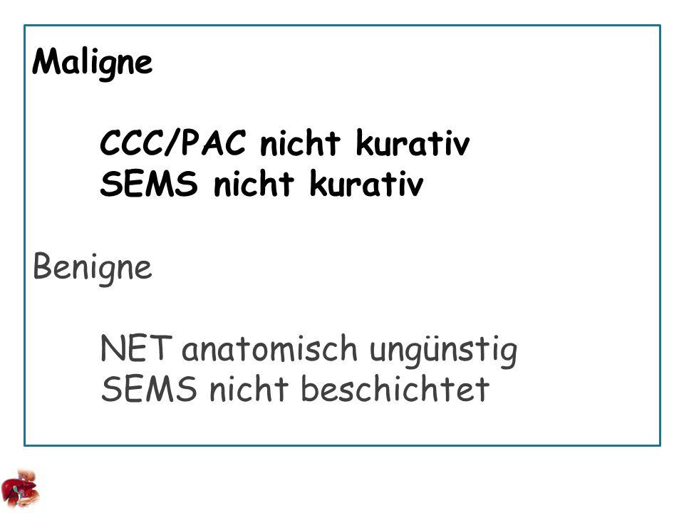 Maligne CCC/PAC nicht kurativ SEMS nicht kurativ Benigne NET anatomisch ungünstig SEMS nicht beschichtet