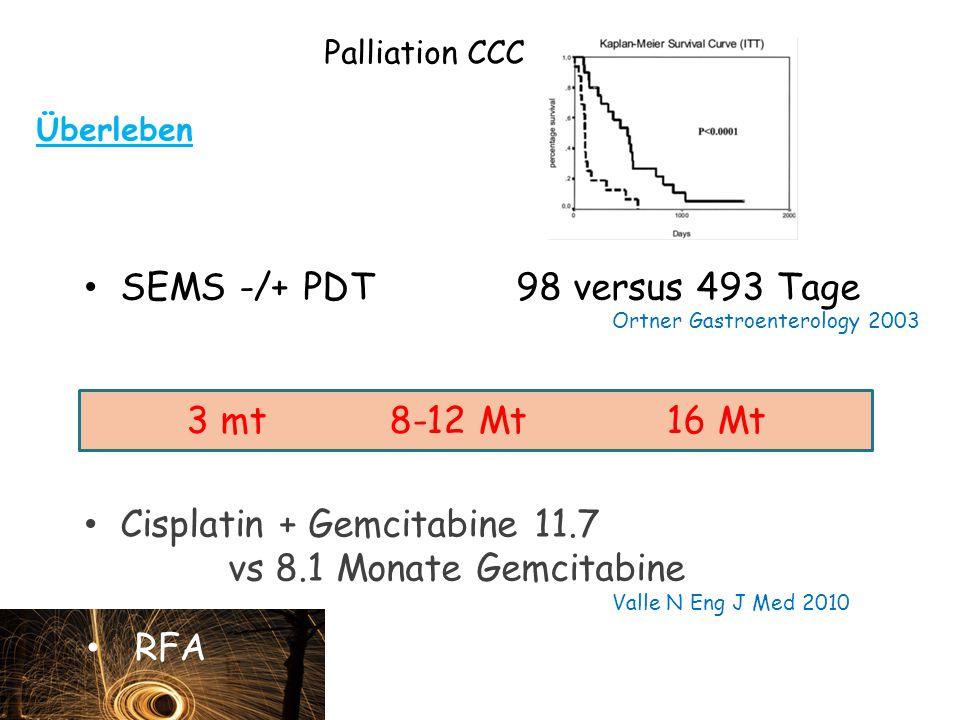 Palliation CCC Überleben SEMS -/+ PDT98 versus 493 Tage Ortner Gastroenterology 2003 Cisplatin + Gemcitabine 11.7 vs 8.1 Monate Gemcitabine Valle N Eng J Med 2010 3 mt 8-12 Mt16 Mt RFA