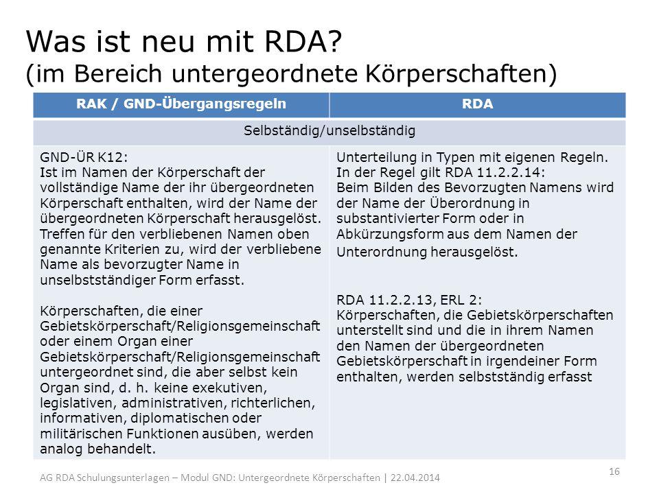 Was ist neu mit RDA? (im Bereich untergeordnete Körperschaften) RAK / GND-ÜbergangsregelnRDA Selbständig/unselbständig GND-ÜR K12: Ist im Namen der Kö