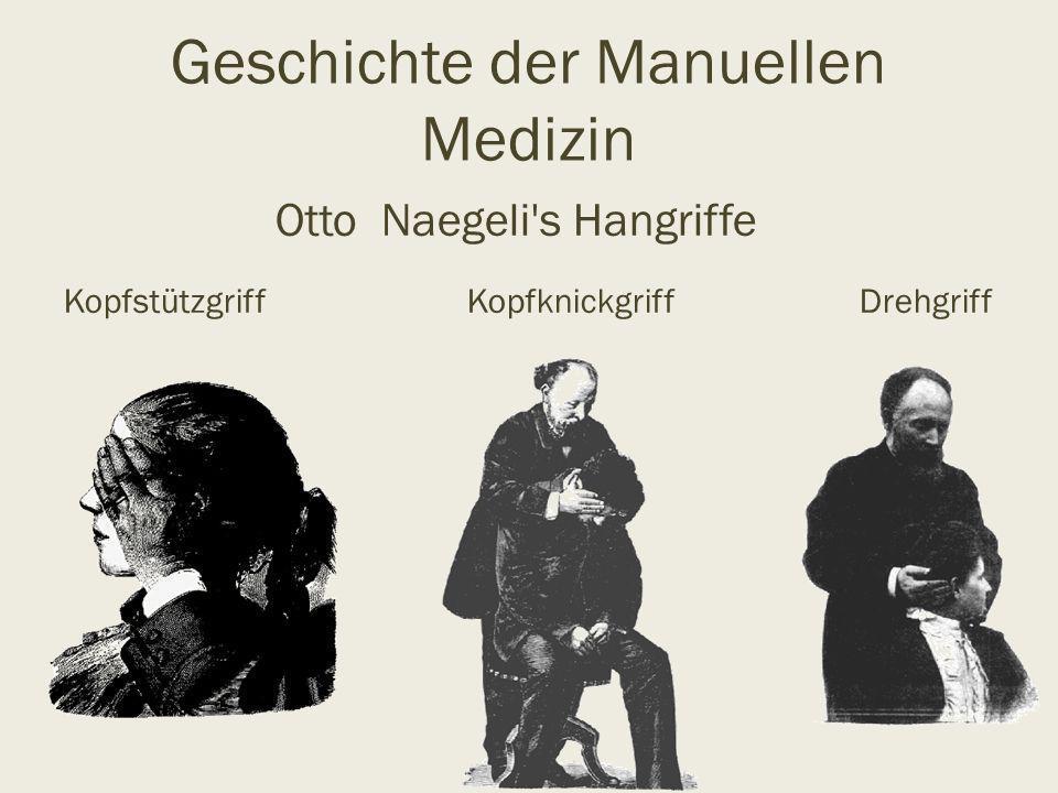 Geschichte der Manuellen Medizin Otto Naegeli's Hangriffe Kopfstützgriff Kopfknickgriff Drehgriff