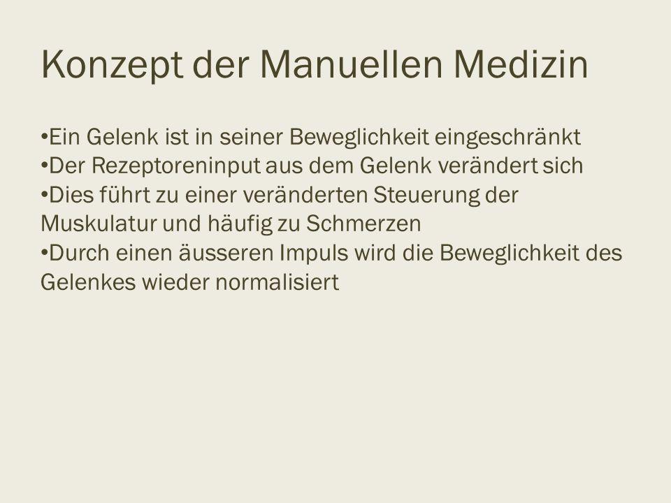 Konzept der Manuellen Medizin Ein Gelenk ist in seiner Beweglichkeit eingeschränkt Der Rezeptoreninput aus dem Gelenk verändert sich Dies führt zu ein