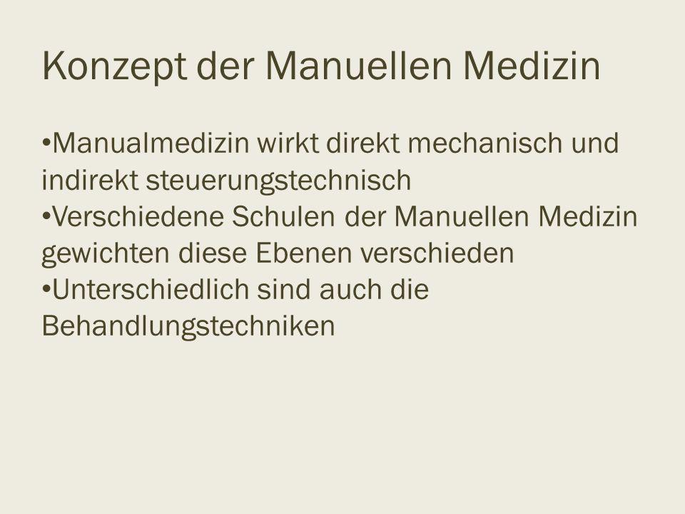 Konzept der Manuellen Medizin Manualmedizin wirkt direkt mechanisch und indirekt steuerungstechnisch Verschiedene Schulen der Manuellen Medizin gewich