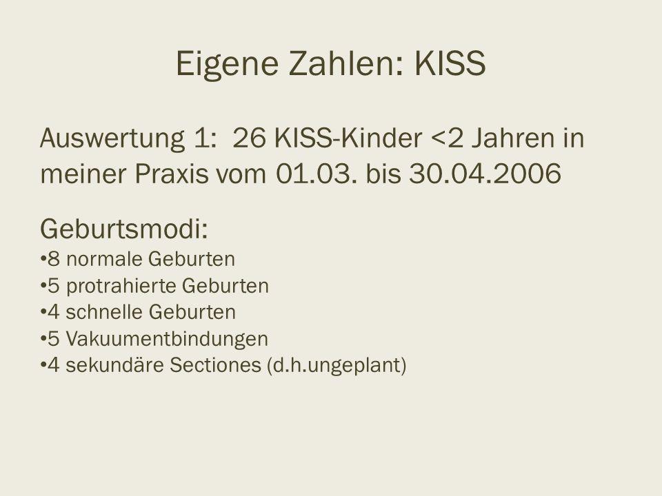 Eigene Zahlen: KISS Auswertung 1: 26 KISS-Kinder <2 Jahren in meiner Praxis vom 01.03. bis 30.04.2006 Geburtsmodi: 8 normale Geburten 5 protrahierte G