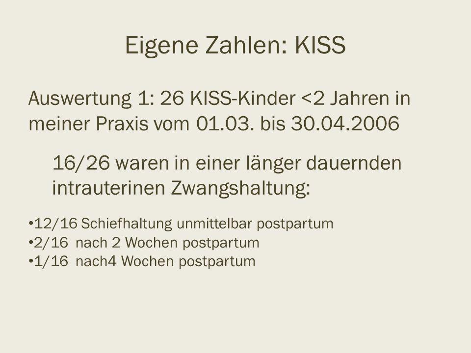 Eigene Zahlen: KISS Auswertung 1: 26 KISS-Kinder <2 Jahren in meiner Praxis vom 01.03. bis 30.04.2006 16/26 waren in einer länger dauernden intrauteri