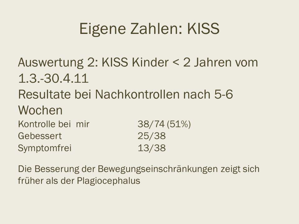 Eigene Zahlen: KISS Auswertung 2: KISS Kinder < 2 Jahren vom 1.3.-30.4.11 Resultate bei Nachkontrollen nach 5-6 Wochen Kontrolle bei mir38/74 (51%) Ge
