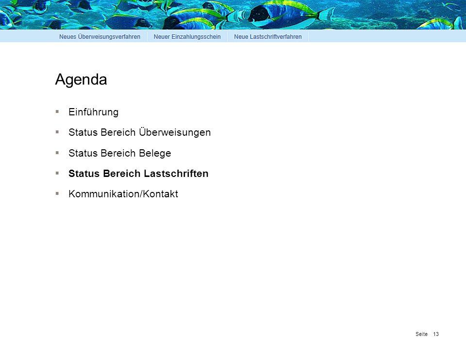 Seite Agenda  Einführung  Status Bereich Überweisungen  Status Bereich Belege  Status Bereich Lastschriften  Kommunikation/Kontakt 13