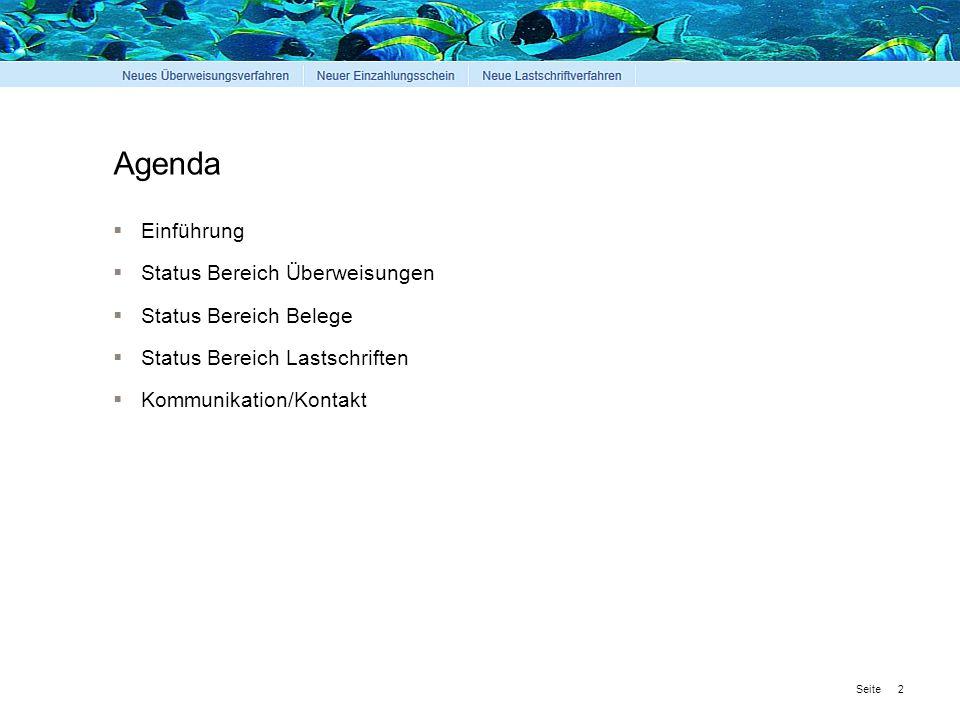 Seite 2 Agenda  Einführung  Status Bereich Überweisungen  Status Bereich Belege  Status Bereich Lastschriften  Kommunikation/Kontakt