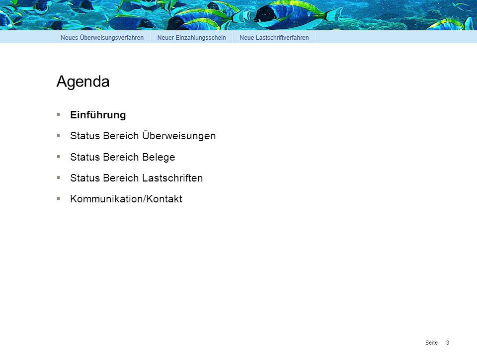 Seite Agenda  Einführung  Status Bereich Überweisungen  Status Bereich Belege  Status Bereich Lastschriften  Kommunikation/Kontakt 3