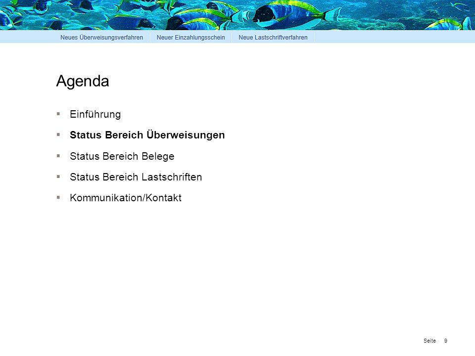 Seite Agenda  Einführung  Status Bereich Überweisungen  Status Bereich Belege  Status Bereich Lastschriften  Kommunikation/Kontakt 9