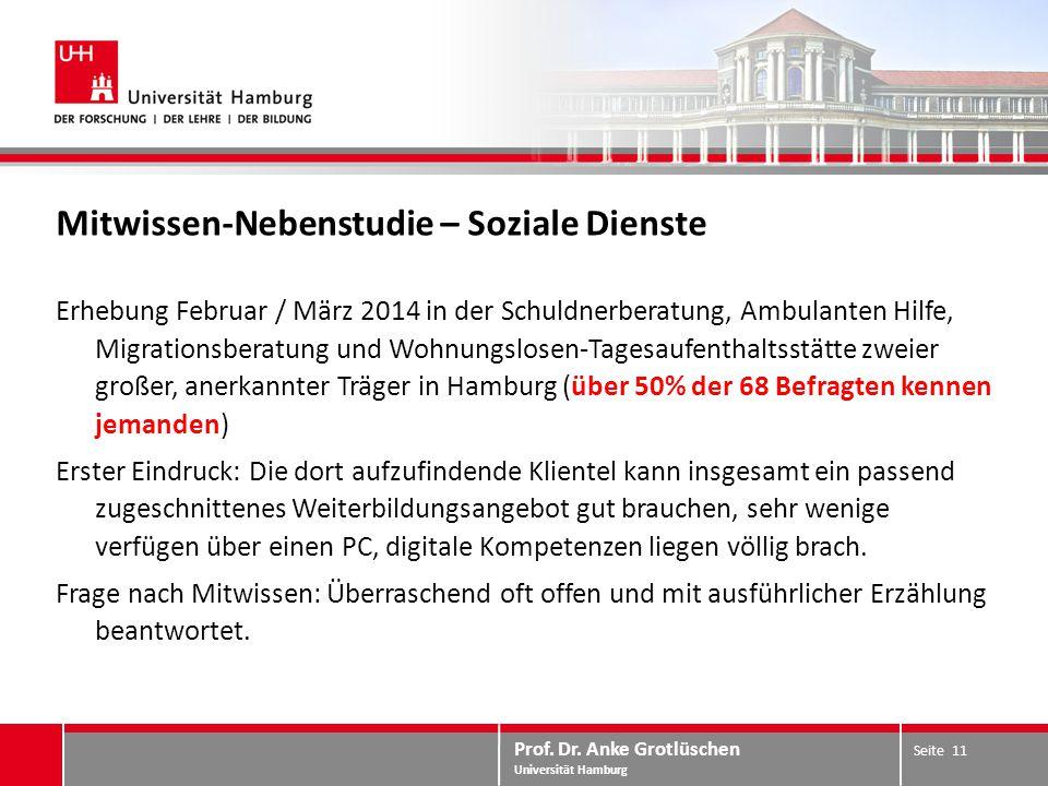 Prof. Dr. Anke Grotlüschen Universität Hamburg Mitwissen-Nebenstudie – Soziale Dienste Erhebung Februar / März 2014 in der Schuldnerberatung, Ambulant