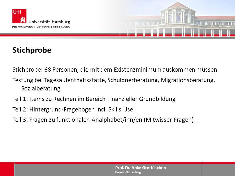 Prof. Dr. Anke Grotlüschen Universität Hamburg Stichprobe Stichprobe: 68 Personen, die mit dem Existenzminimum auskommen müssen Testung bei Tagesaufen