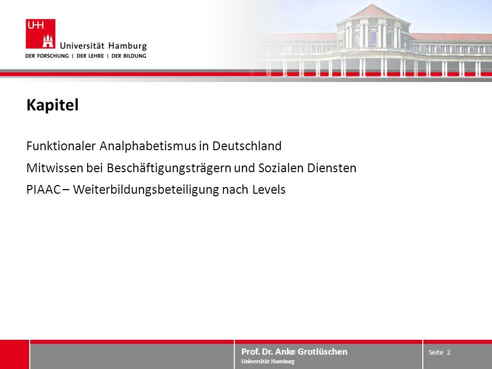 Prof. Dr. Anke Grotlüschen Universität Hamburg Kapitel Funktionaler Analphabetismus in Deutschland Mitwissen bei Beschäftigungsträgern und Sozialen Di