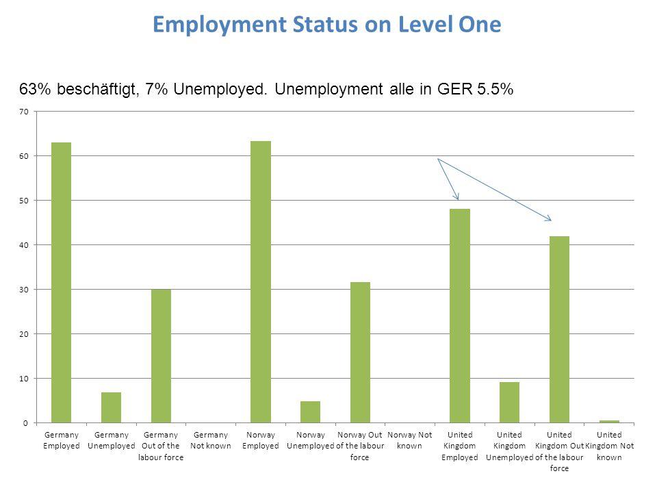 Employment Status on Level One 63% beschäftigt, 7% Unemployed. Unemployment alle in GER 5.5%