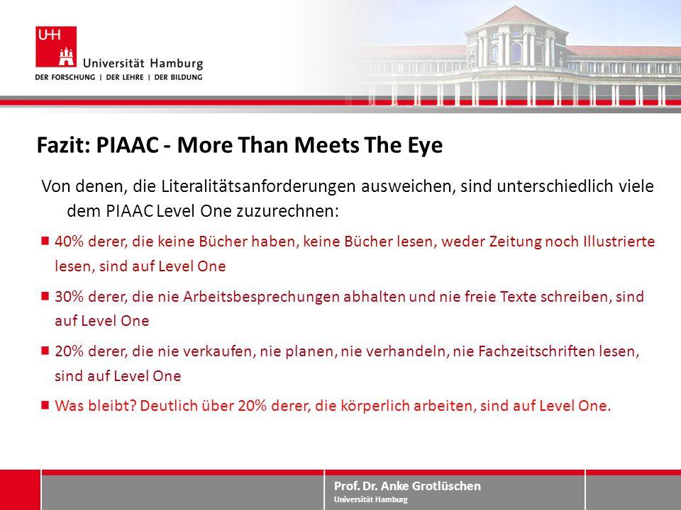 Prof. Dr. Anke Grotlüschen Universität Hamburg Fazit: PIAAC - More Than Meets The Eye Von denen, die Literalitätsanforderungen ausweichen, sind unters