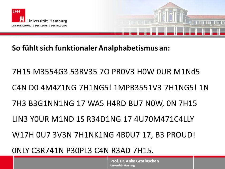 Prof. Dr. Anke Grotlüschen Universität Hamburg So fühlt sich funktionaler Analphabetismus an: 7H15 M3554G3 53RV35 7O PR0V3 H0W 0UR M1Nd5 C4N D0 4M4Z1N