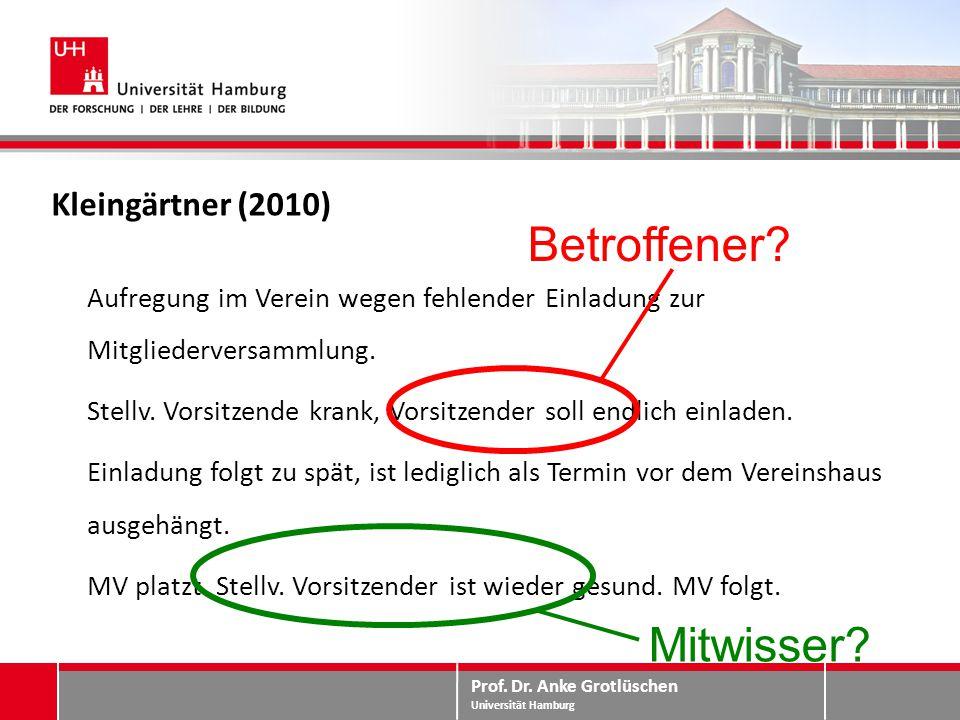 Prof. Dr. Anke Grotlüschen Universität Hamburg Kleingärtner (2010) Aufregung im Verein wegen fehlender Einladung zur Mitgliederversammlung. Stellv. Vo