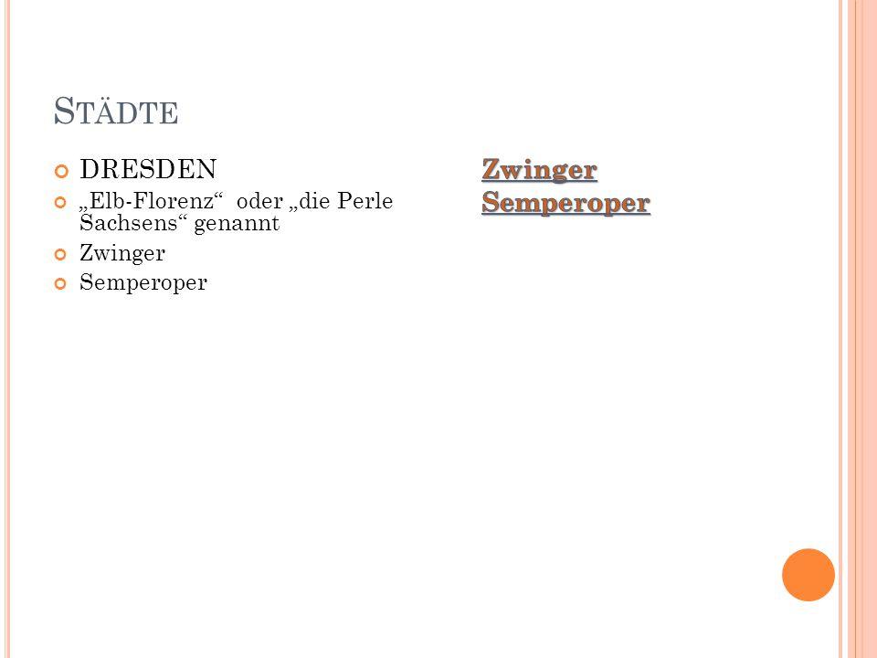 """S TÄDTE DRESDEN """"Elb-Florenz"""" oder """"die Perle Sachsens"""" genannt Zwinger Semperoper"""