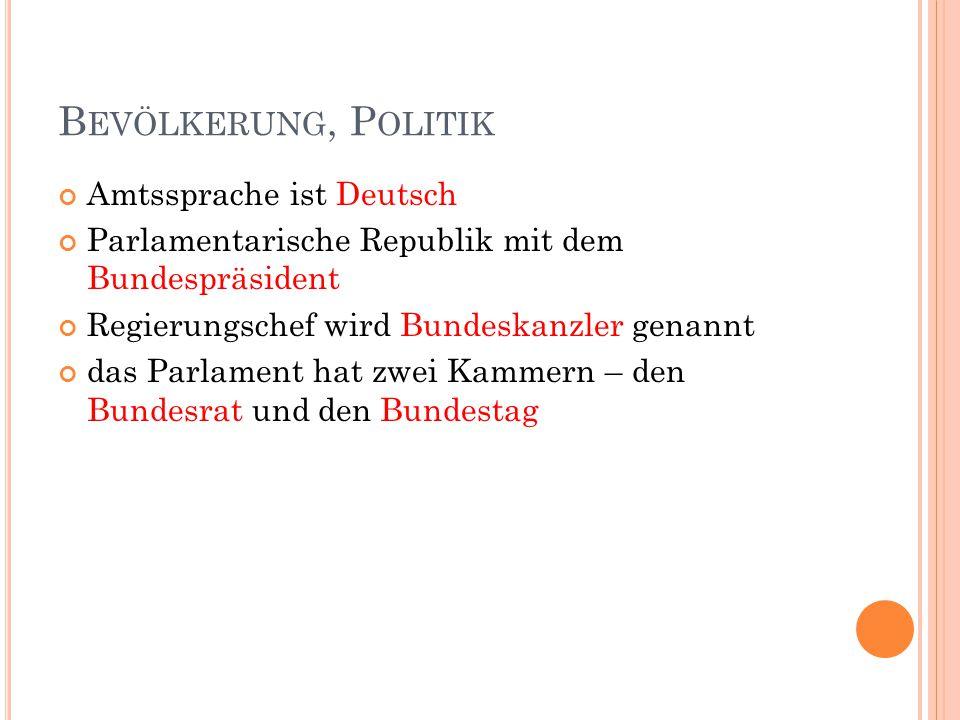 B EVÖLKERUNG, P OLITIK Amtssprache ist Deutsch Parlamentarische Republik mit dem Bundespräsident Regierungschef wird Bundeskanzler genannt das Parlament hat zwei Kammern – den Bundesrat und den Bundestag
