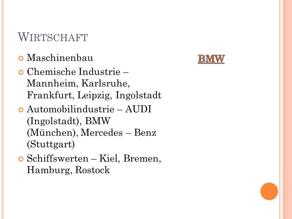 W IRTSCHAFT Maschinenbau Chemische Industrie – Mannheim, Karlsruhe, Frankfurt, Leipzig, Ingolstadt Automobilindustrie – AUDI (Ingolstadt), BMW (München), Mercedes – Benz (Stuttgart) Schiffswerten – Kiel, Bremen, Hamburg, Rostock