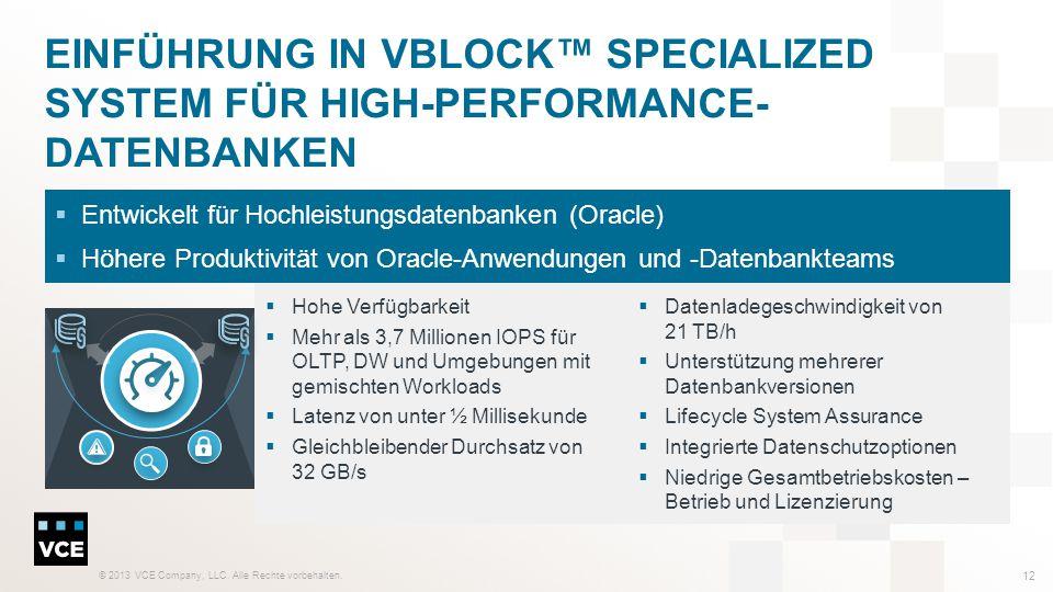 © 2013 VCE Company, LLC. Alle Rechte vorbehalten. 12 EINFÜHRUNG IN VBLOCK™ SPECIALIZED SYSTEM FÜR HIGH-PERFORMANCE- DATENBANKEN  Hohe Verfügbarkeit 